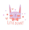 cute cartoon little bunny colorful hand drawn vector image vector image