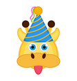 cute giraffe with a party hat avatar vector image vector image