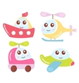Cute kids transport collection plane helicopter vector image vector image