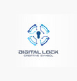 digital lock creative symbol concept circuit vector image