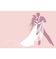 elegant groom and beautiful bride with long mane vector image