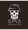 fishing club emblem with skull in panama hat vector image vector image