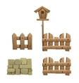 Fragments of wooden and brick fence with birdhouse vector image vector image