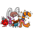 funny insects cartoon characters group vector image vector image
