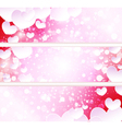 Glowing banners with paper hearts vector image