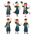 graduates students college student in graduation vector image vector image