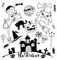 Halloween doodle set with hand draw vector image vector image