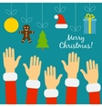 Hands of the people in Santa costumes are drawn to vector image vector image