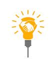 handshake light bulb vector image vector image