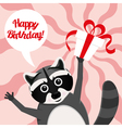 happy birthday raccoon vector image vector image
