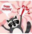 happy birthday raccoon vector image