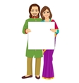 Indian couple holding empty blank board vector image vector image
