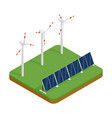 isometric plant solar panels and wind generators vector image
