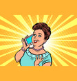 middle-aged woman talking on the phone vector image