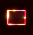 neon lights square background red rectangle frame vector image vector image