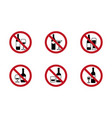no alcohol signs set with various drinks vector image