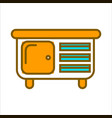 orange commode with small drawers and big shelf vector image