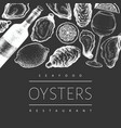 oysters and wine design template hand drawn on vector image vector image