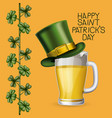 poster saint patricks day with beer mugs with top vector image
