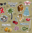 seamless pattern with sticker set summer travel vector image