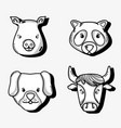 set cute natural animals design vector image vector image