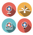 set of fan icons in flat style object vector image