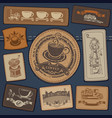 set of jeans label with coffee on denim background vector image vector image