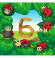 Six ladybugs on leaves with number 6 vector image vector image