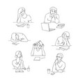 sketch young bored tired students set vector image