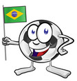 soccer ball cartoon with brazil flag vector image vector image