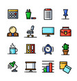 thin line office icons set vector image vector image