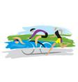 triathlon racersthree discipline of the triathlon vector image vector image