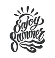 vintage enjoy summer lettering template vector image