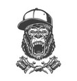 vintage ferocious gorilla head vector image vector image