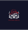 vintage gangsters skull wearing hat vector image