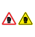 Warning sign attention Boxer Hazard yellow sign vector image vector image