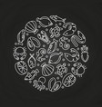 white sealife linear icons round concept vector image vector image