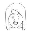 woman face smile expression cartoon character on vector image vector image
