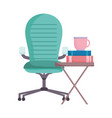 workspace coffee cup books and chair isolated vector image
