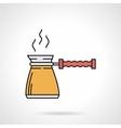 Yellow coffee pot flat icon vector image