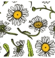 Beautiful vintage background with black daisies vector image