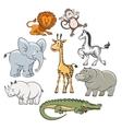 Cartoon safari and jungle animals vector image