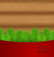 Christmas wood background with fir needles vector image