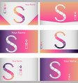 set of six colorful business card with letter s vector image