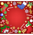 christmas decoration frame on red background vector image