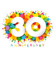 30 years anniversary paper colorful logo vector image vector image