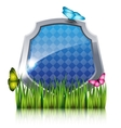 Blue shield with flying butterflies by the grass vector image