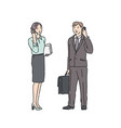 business woman and man in strict suit talking on vector image