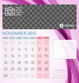 Calendar 2015 November template with place for vector image vector image