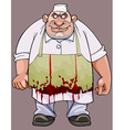 Cartoon big fat man in a bloodstained apron vector image